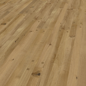 Parquet oak Zweiblatt, wood plug, bevelled (4V), structured, oiled finish