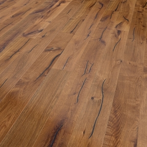 Parquet oak Caramel, Valley, bevelled (4V), structured, thermal treated, oiled finish