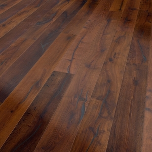 Parquet oak Mocca, Valley, bevelled (4V), structured, thermal treated, oiled finish