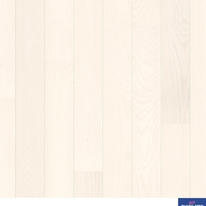 Parquet Ivory White ash satin, large groove, 1-strip, lacquered