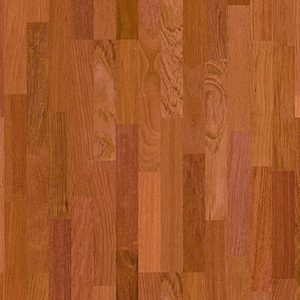 Parquet Jatoba satin, no groove, 3-strip, lacquered