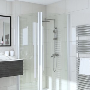 Shower corner with two curved doors INFINIA 222x222