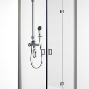 Shower corner with door and folding door FENIC 312x313