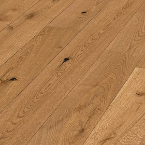 Parquet Golden brown rustic oak, brushed, 1-strip, matt lacquered