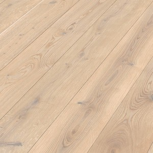 Parquet Off-white rustic oak, brushed, 1-strip, matt lacquered