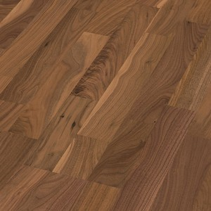 Parquet American walnut distinctive, 3-strip, lacquered
