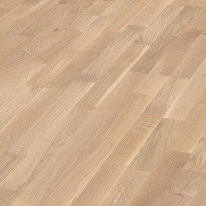 Parquet Cream oak lively, 3-strip, lacquered