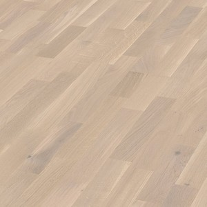 Parquet Off-white oak lively, 3-strip, lacquered
