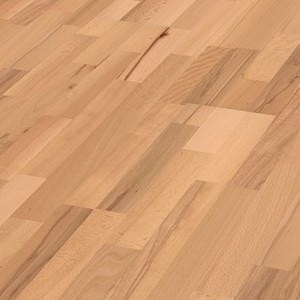Parquet Steamed beech lively, 3-strip, lacquered