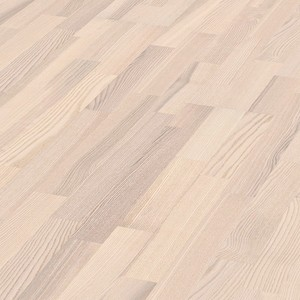 Parquet White ash lively, 3-strip, lacquered
