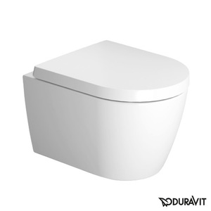 Toilet wall-mounted Duravit ME by Starck Compact Rimless, Durafix, with soft-close seat