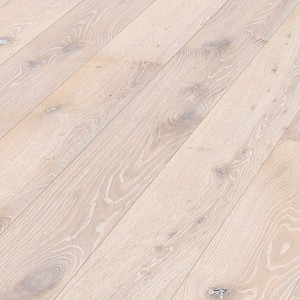 Parquet Limed polar white authentic oak Meister, brushed, 1-strip, naturally oiled PD400