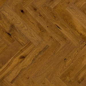 Parquet Oak, Piccolo Brown sugar, 1-strip, beveled, brushed, stained, matt lacquer, herringbone