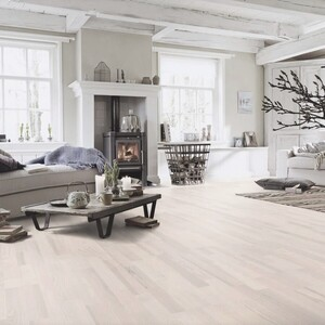 Parquet Ash, white matt lacquered, 3-strip