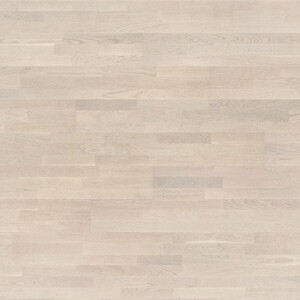 Parquet Oak, white matt lacquered, 3-strip