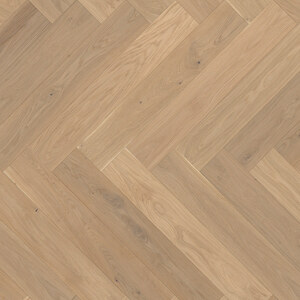 Parquet Oak, ter Hürne, raw oak herringbone, brushed, beveled, extra matt lacquered
