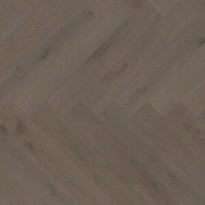 Parquet Oak, ter Hürne, herringbone, Oak basalt brown, brushed, beveled, extra matt lacquered