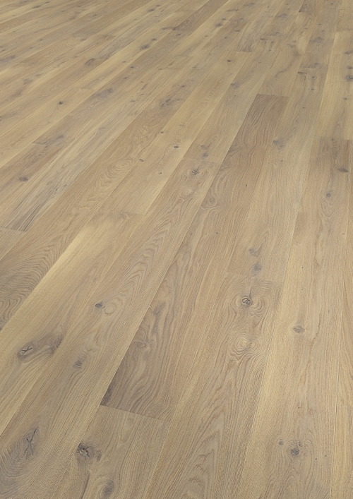 Parquet oak white, Alpin, bevelled (4V), scraped, oiled finish
