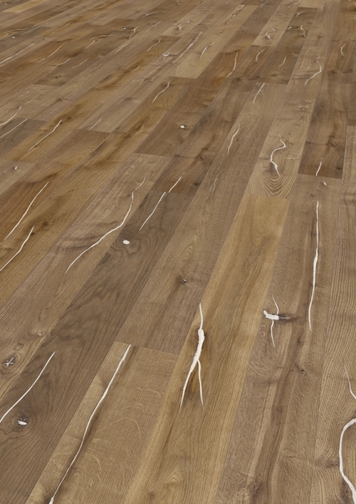 Parquet oak Caramel, Valley, Creme, bevelled (4V), structured, thermal treated, oiled finish