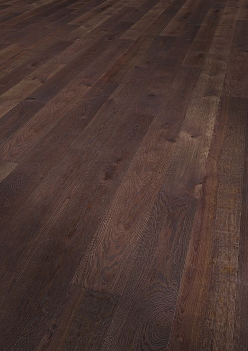 Parquet oak Mocca Antik, Alpin, bevelled (4V), structured, thermal treated, oiled finish