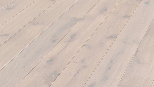 Parquet Arctic white rustic oak, brushed, 1-strip, naturally oiled